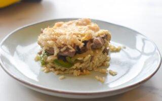 Ovenschotel met varkensvlees en rijst