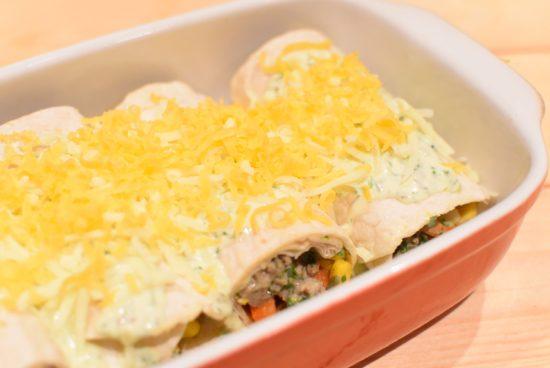 Enchilada met lamsgehakt en koriander