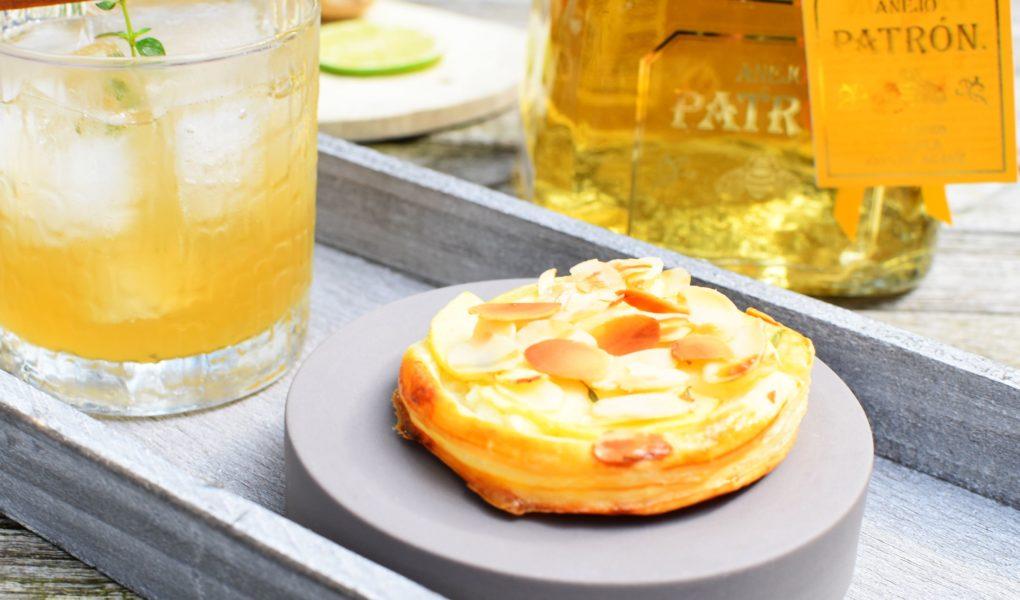 Cocktail: Patron Tequila Anejo - Bladerdeeggebakje met appel
