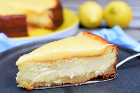 Gebakken cheesecake met citroen en lemoncurd