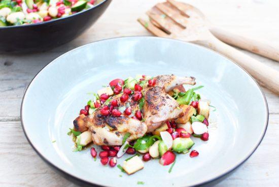 Gebraden kwartel met rauwkost salade van witte bonen