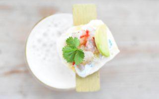 Tartaar van zeebaars - zure room - avocado - The Calling IPA