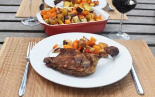Canard confit - Ovengeroosterde groenten en aardappelen