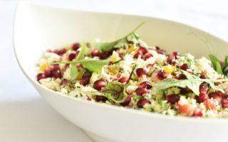 Barbecue salade: Couscous van bloemkool met granaatappel