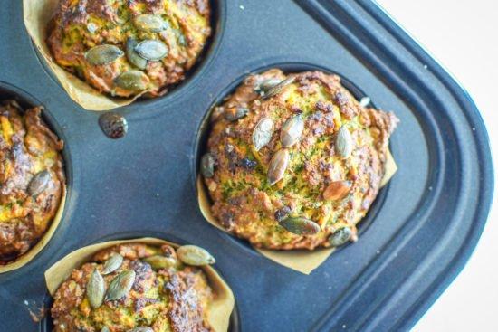 Muffins met zoete aardappel en spinazie - Little Green Kitchen