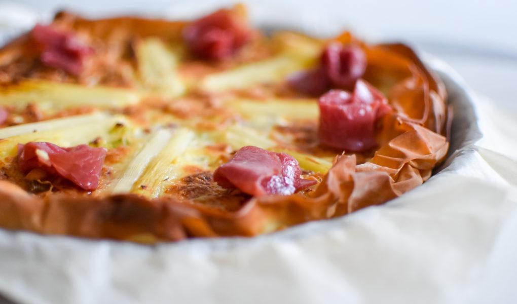 Quiche met asperges, doperwten en Filet d'Anvers