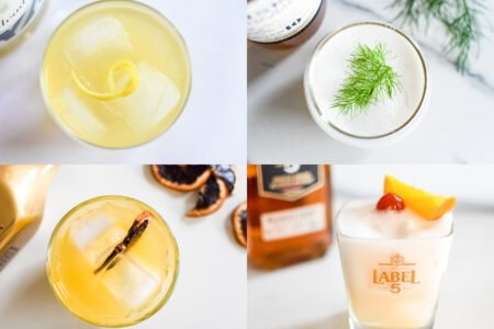 Sour cocktails - whisky, calvados of groene thee